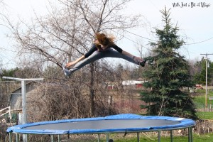 Natalie on the trampoline