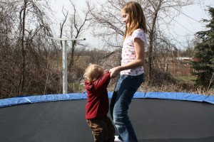 Andrew & Lauren on the trampoline