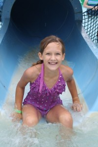 Lauren on the water slide
