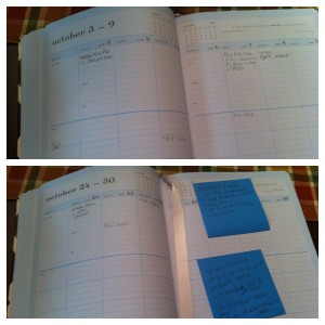 Filling in my Mom Agenda Planner