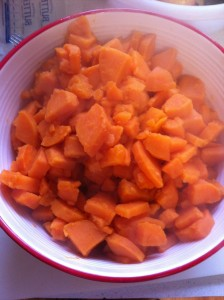 sweet potatoes ready to mash