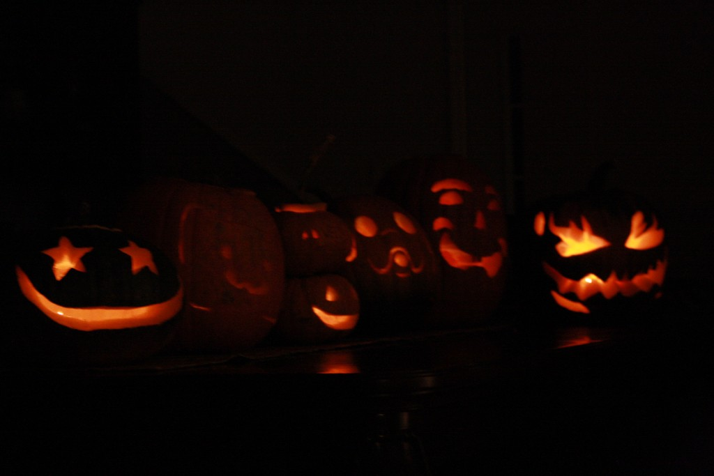 lit pumpkins