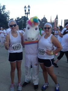 Natalie & Cait with the Color Run Unicorn