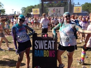 Natalie & Cait sweating rainbows