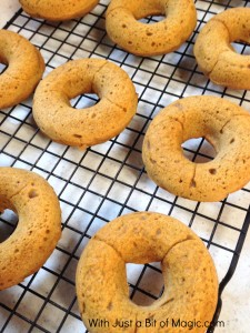 cider glazed pumpkin donuts cooling