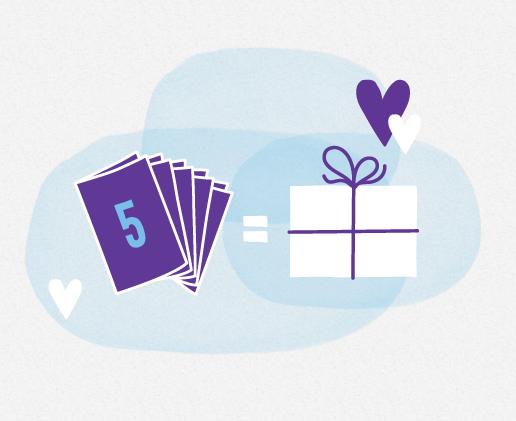 5 cards = reward