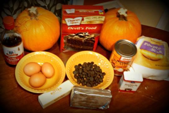 ooey gooey pumpkin and chocolate cake ingredients