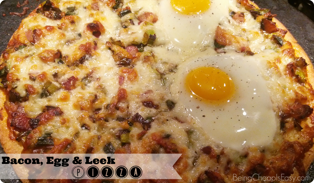Bacon, egg, and leek pizza