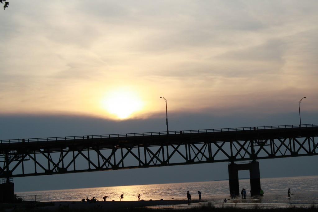 sunset over the bridge